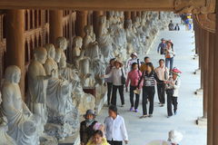 People are reaching to the Bai Dinh Pagoda, one of the largest one in the southern east asia in Vietnam stock photography