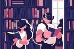 People read in library. Stock Image