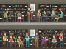 People Read in the Library Vector Illustration Set Royalty Free Stock Photography
