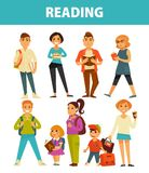 People reading books young and adults vector flat isolated icons set Royalty Free Stock Images