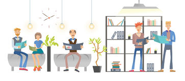 People reading documents or books in the office or library, shelving with folders and books. Vector illustration royalty free illustration