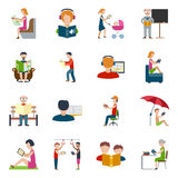 People Reading Icons Set Stock Images