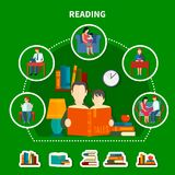 People Reading Literature Composition. On green background with stacks of books, interior elements vector illustration Royalty Free Stock Photography