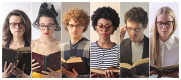 People reading stock photo