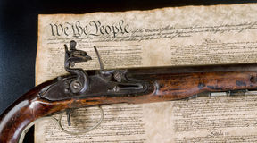 We the People. We the people with real flintlock pistol Stock Photo