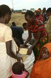 People receiving food supplies from the WFP Royalty Free Stock Image