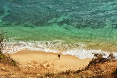 People recreation on Algarve beach. Amazing destination in Portugal and  all seasons attraction for many tourists in entire world Stock Images
