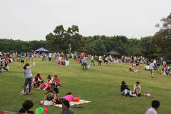 People in recreation park at weekends Royalty Free Stock Images