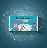 People Recruitment concept  with Doodle design style. People inteview, skill testing, clear selection. Modern style illustration for web banners, brochure and Royalty Free Stock Image