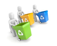 People with recycling bins Royalty Free Stock Photos