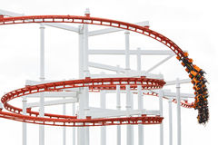 People on red rail roller coaster Royalty Free Stock Photo