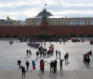 Moscow. Kremlin. People on Red Square. Moscow. Kremlin. Large group of people on Red Square on background of Lenin's Mausoleum Stock Images