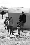 People in refugee camp Stock Image