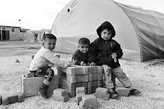 People in refugee camp Stock Images