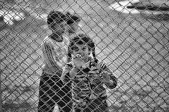 People in refugee camp Royalty Free Stock Image