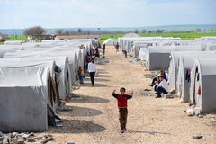 People in refugee camp Royalty Free Stock Photography