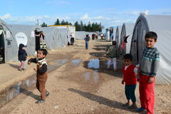 People in refugee camp stock photos
