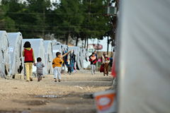 people in refugee camp Stock Photo