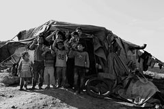 People in refugee camp Stock Photography