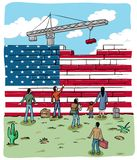 People refugees in front of a Usa wall flag vector illustration