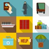 People refugees icons set, flat style Stock Images