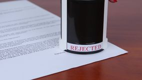 People rejected by the stamp conditions of the contract. Close up stock footage