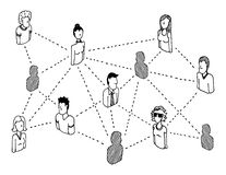 People relations. Cartoon Social network connecting persons Royalty Free Stock Image