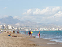 People relax at the beach Alicante Royalty Free Stock Photography