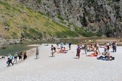 Recreation at the white sandy beach of Cala Sa Calobra, Mallorca, Spain Royalty Free Stock Photos