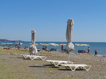 People relax on the beach, sea resort Sochi, Russia Stock Photography