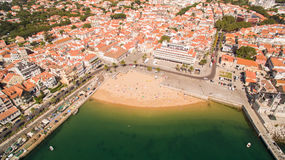 People relax on the beautiful beaches of Cascais Portugal aerial view Stock Photography