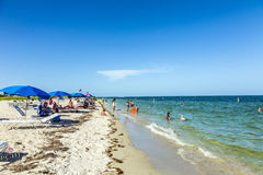 People relax at the Crandon Park beach Royalty Free Stock Photography