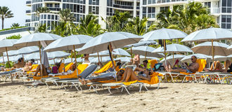 People relax at Jade beach in Sunny Isles Beach Stock Photography
