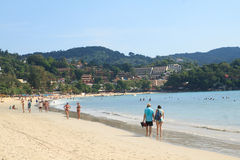 People relax on Kata Beach Royalty Free Stock Images