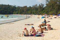 People relax on Kata Beach Stock Photos