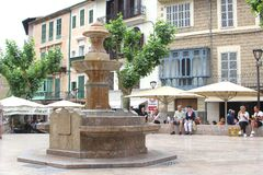 People relax at the main square in Soller, Mallorca, Spain Stock Photos