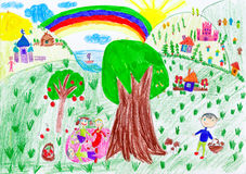 People relax on meadow near the village. child drawing Stock Images