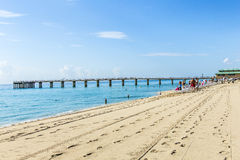 People relax near the pier in Sunny Isles Beach. SUNNY ISLES BEACH, USA - JULY 28, 2013: people relax near the pier in Sunny Isles Beach, USA. In 1936, Milwaukee Royalty Free Stock Image
