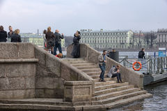 People relax on the Neva River Stock Photo