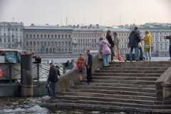 People relax on the Neva River. At the Peter and Paul Fortress, St. Petersburg, Russia Royalty Free Stock Photography