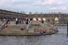 People relax on the Neva River. At the Peter and Paul Fortress, St. Petersburg, Russia Royalty Free Stock Image
