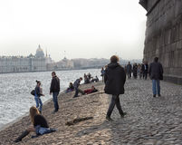People relax on the Neva River. At the Peter and Paul Fortress, St. Petersburg, Russia Stock Photography