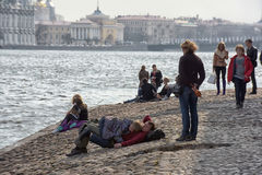 People relax on the Neva River. At the Peter and Paul Fortress, St. Petersburg, Russia Royalty Free Stock Images