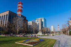 People relax at Odori park, Sapporo Royalty Free Stock Photo