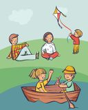People relax outdoor, kid launch a kite, couples in boat and on grass. Cartoon style vector illustration, simply editable set Stock Illustration