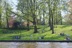 Students and people relaxing in green citypark north off netherlands on the first sunny day in springtime. People relax outside sitting in a city park in the Royalty Free Stock Photo