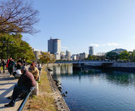 People relax at the Peace Park in Hiroshima, Japan Royalty Free Stock Photo