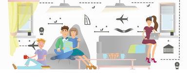 People relax in a public area of a hostel or hotel. Vector illustration. Young people relax in a public area of a hostel or hotel. Vector illustration Royalty Free Stock Photo