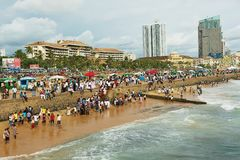 People relax at the seaside in Colombo, Sri Lanka. Royalty Free Stock Photos