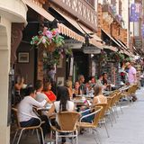 People enjoy at a cosy terrace in London Court, Perth, Australia  Stock Photos